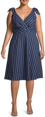 Rachel Roy Plus Striped Faux Wrap Dress