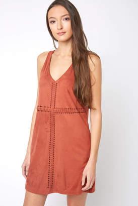 Black Swan Whip Stitch Suede Dress Rust L