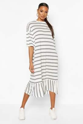 boohoo Striped Dropped Hem T-Shirt Midi Dress