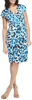 Maggy London Cap Sleeve Printed Jersey Wrap Dress