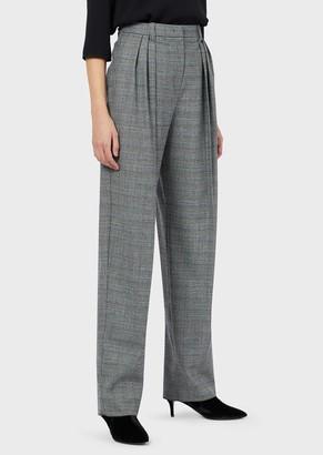 Emporio Armani Stretch Wool, Glen Plaid, Darted Trousers