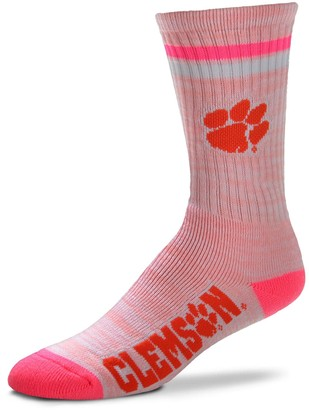 For Bare Feet Women's Clemson Tigers Pretty in Pink Crew Socks