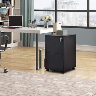 Inbox Zero Metal 2- Drawer Mobile Vertical Filling Cabinet Color: Black
