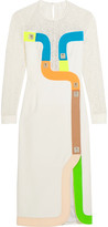 Peter Pilotto Track Embroidered Tulle And Wool-Blend Crepe Dress