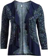 Glam Navy & Green Floral Ruffle Open Cardigan - Plus