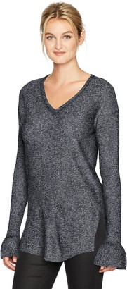 Michael Stars Women's Mixed Stitch Soft V-Neck Pullover with Ruffle Sleeve