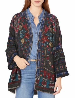 Johnny Was Biya by Women's Shorter Knit Sweater with Embroidery and Kimono Sleeve