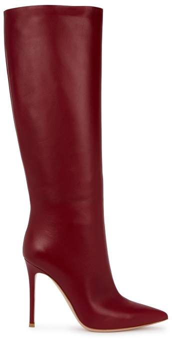 Gianvito Rossi Suzan 105 Dark Red Leather Knee Boots