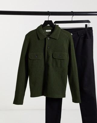 Selected wool shacket in khaki