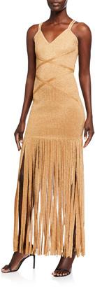 Herve Leger Shimmered Sleeveless V-Neck Fringe Dress