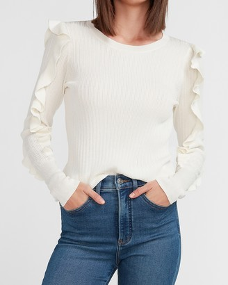 Express Ribbed Ruffle Sleeve Sweater