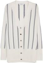 Lanvin Ecru Striped Stretch-knit Cardigan
