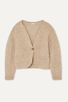 AAIZÉL + Net Sustain Ribbed Wool-blend Cardigan - Taupe