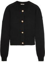 Miu Miu Cropped Embellished Cashmere Cardigan - Black