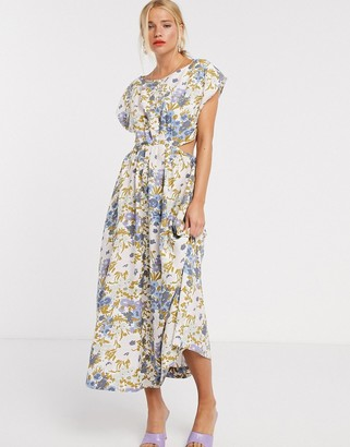 And other stories & retro floral print cut-out detail midi dress in multi
