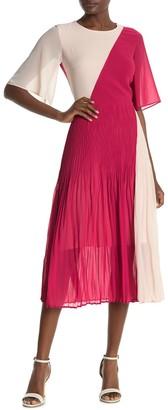 HUGO Kirana Colorblock Pleated Midi Dress