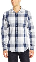 Calvin Klein Jeans Men's Gridded Buffalo Check Long Sleeve Button Down Shirt