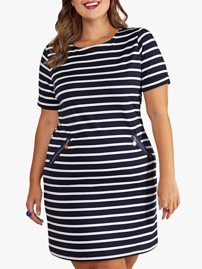 Yumi Curves Nautical Stripe Pocket Tunic Dress, Navy
