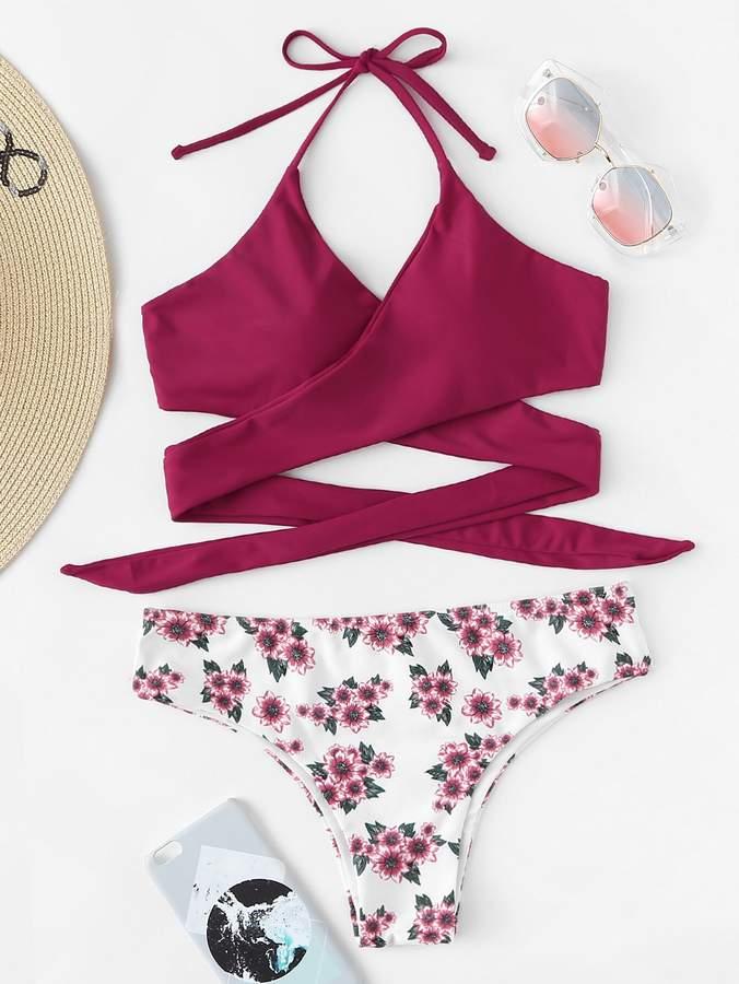 4e2a4275035 Wrap Halter Top With Floral Bikini Set