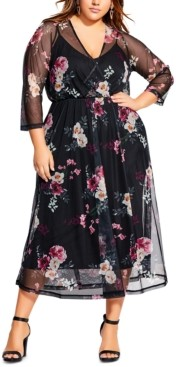City Chic Trendy Plus Size Faux-Wrap Sheer-Overlay Dress