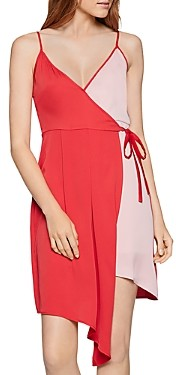 BCBGeneration Color-Block Crossover V-Neck Dress