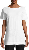 Misook Rib-Knit Short-Sleeve Tunic, White