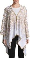 Misook Ombré-Spot Print Poncho Jacket, Brown/White, One Size