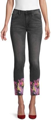 Driftwood Paint Splatter-Hem Ankle Jeans