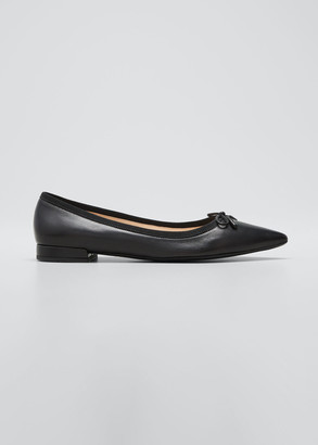 Prada Leather Bow Point-Toe Ballerina Flats