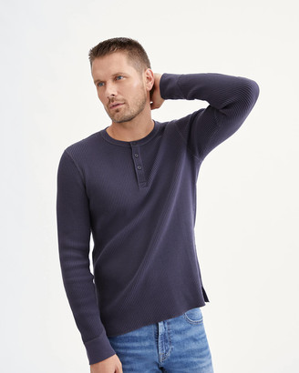 7 For All Mankind Waffle Henley in Navy