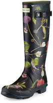 Hunter Tall Floral-Print Rain Boot, Black/Multi