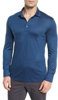 Ermenegildo Zegna High-Performance Wool Long-Sleeve Polo Shirt, Aqua