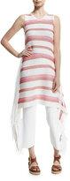 Stella McCartney Sleeveless Striped Tunic Dress W/Fringe
