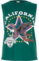River Island Womens Green 'California' fringe back tank top