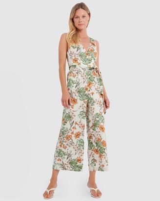 Forcast Gia Floral Print Jumpsuit