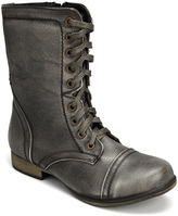 Black Burnished Lace-Up Boot