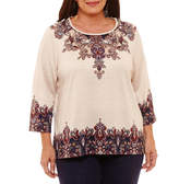 Alfred Dunner Gypsy Moon 3/4 Sleeve Scroll Border T-Shirt-Plus