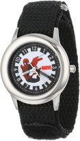 Spiderman Marvel Comics Kids' W000313 Marvel Kid's Stainless Steel Time Teacher Black Velcro Strap Watch