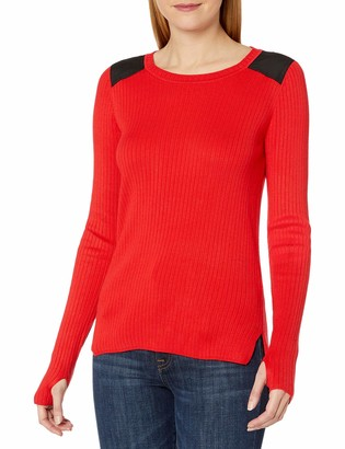 Jones New York Women's Fitted Sweater with Faux Suede