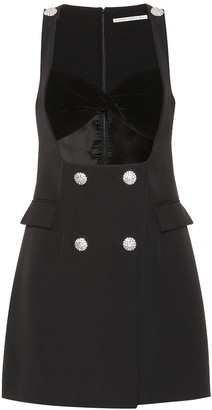 Alessandra Rich Velvet-trimmed wool-crepe minidress