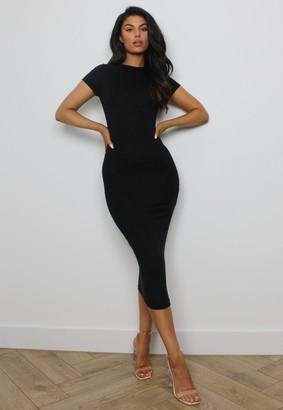 Missguided Black Crew Neck Midi Dress