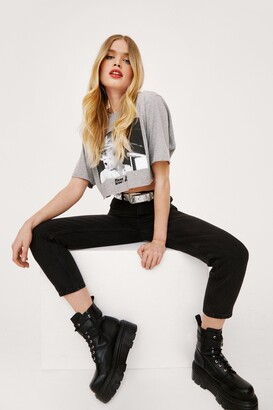 Nasty Gal Womens Are You Gonna Say High-Waisted Cropped Jeans - black - 8