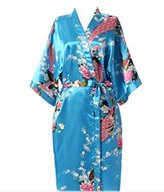 EFLM Women's Robes Peacock and Blossoms Silk Nightwear Long Style (L, )