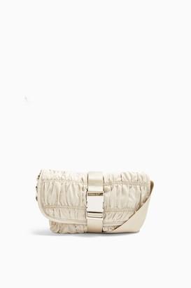 Topshop Ecru Ruched Nylon Messenger Cross Body Bag