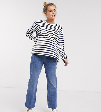 Asos DESIGN Maternity High rise 'effortless' stretch kick flare jeans in mid vintage wash with over the bump band-Blue
