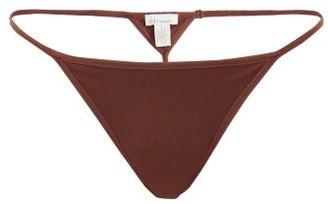 Skin Gisella Organic Cotton-blend Thong - Dark Brown