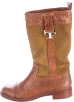Tory Burch Logo-Embellished Suede Boots