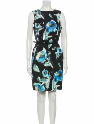 Oscar de la Renta Floral Print Mini Dress Black