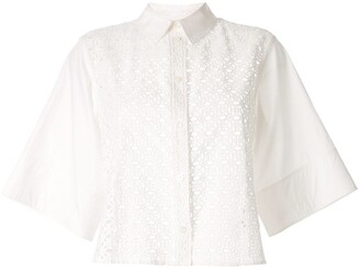CK Calvin Klein Boxy Eyelet Detailed Shirt