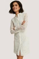 NA-KD Lace Collar LS Mini Dress